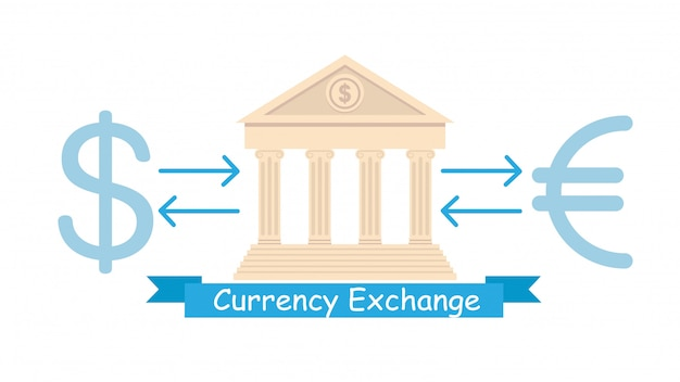 Currency exchange business flat poster concept