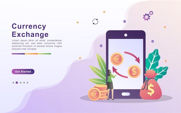 外貨両替の概念。世界の通貨交換サービス。