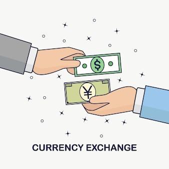 Обмен валют. перевод денег за границу. доллар, символ иены (юань). форекс, бизнес-концепция. человеческая рука держит банковский счет, наличные деньги на фоне.