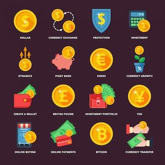 Обмен валюты в банковской системе Premium векторы