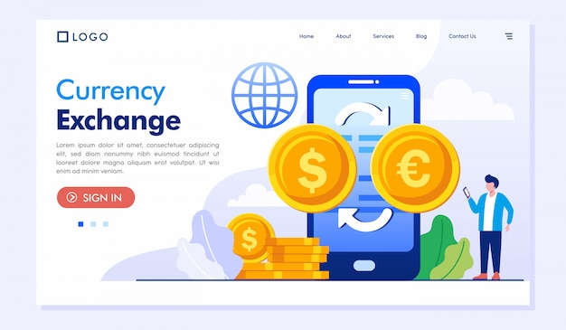 Currency exchange landing page website illustration vector template