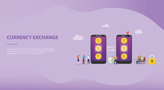 Currency exchange money concept with mobile apps for website template or landing homepage