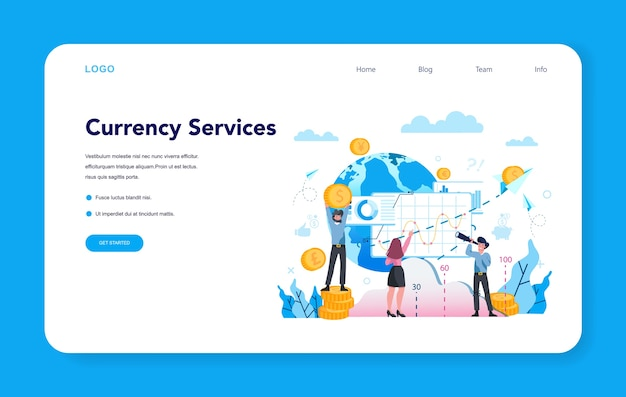 Currency exchange service web banner or landing page