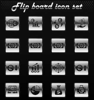Currency exchange vector flip mechanical icons for user interface design