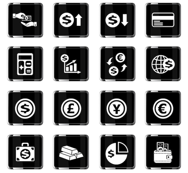 Currency exchange web icons for user interface design