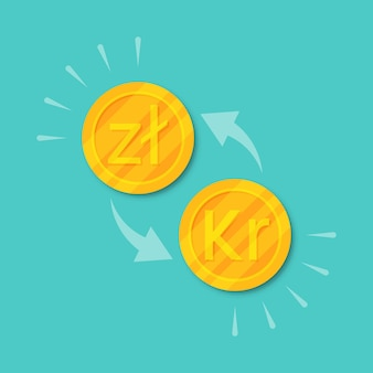 Currency exchange zloty to krone. golden coins money