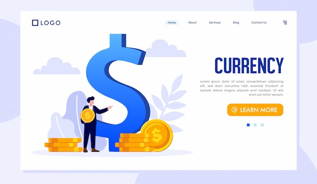 Currency landing page website template