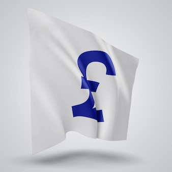 Currency pounds on  vector 3d flag isolated on white background