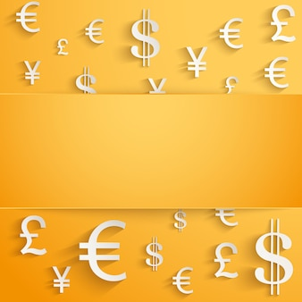 Currency symbol on bright orange with space for text.