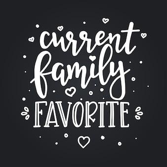 현재 가족이 좋아하는 손으로 그린 타이포그래피 포스터. 개념적 필기 구 가정 및 가족, 손으로 글자 붓글씨 디자인. 문자 쓰기.