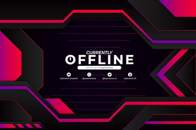 現在オフラインの背景パープルピンクスタイル