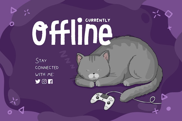 Currently offline banner template, purple background with sleeping cat