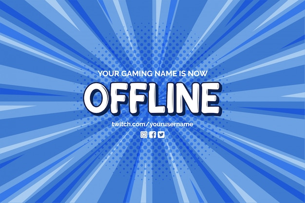 Currently offline banner with comic zoom background vector template