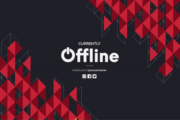 Currently offline banner with polygonal red shapes vector template