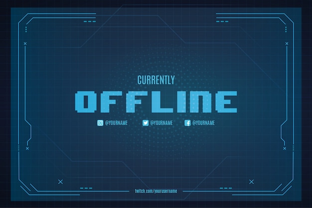 Currently offline twitch background with abstract technology background template
