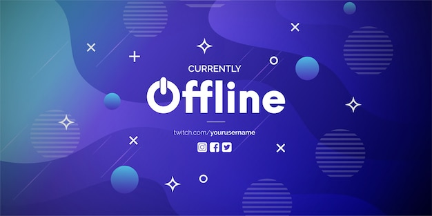 Currently offline twitch banner with abstract gradient background