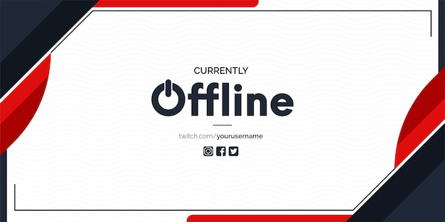 Currently offline twitch banner with abstract red shapes background