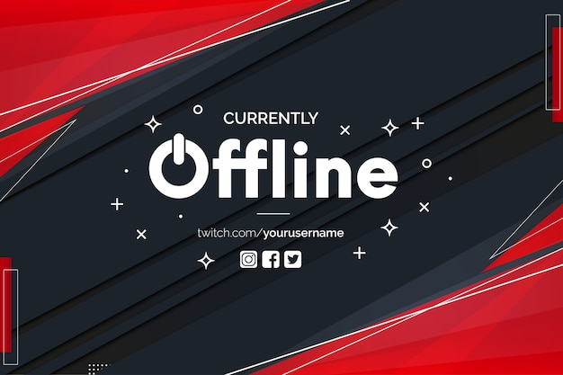 Currently offline twitch banner with abstract red shapes