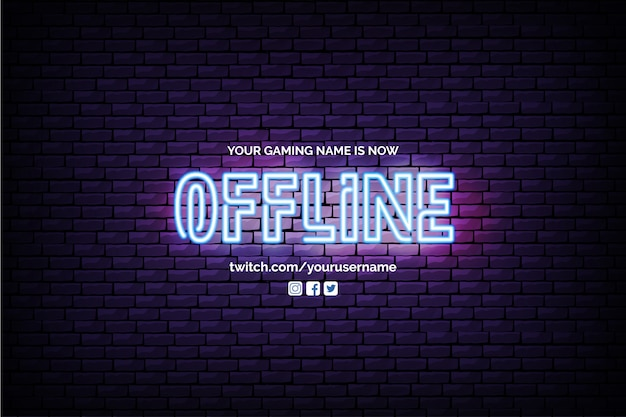 現在オフラインのtwitch banner with neon design
