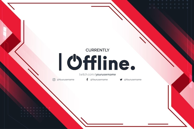 Currently offline twitch with abstract red shapes design template