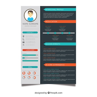 Curriculum template with flat design