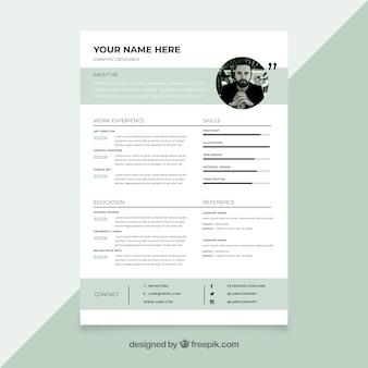 Curriculum template with minimalist style