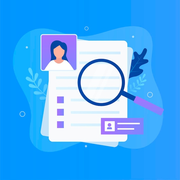 Curriculum vitae and magnifying glass for websites landing pages