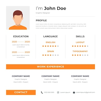 Curriculum vitae online with character avatar