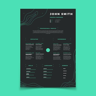 Curriculum vitae template. cv resume for placeholder company vector layout