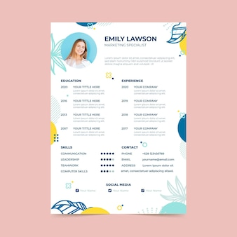 Curriculum vitae template with leaves