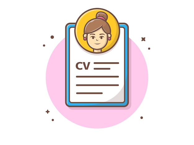 Curriculum vitae with character vector illustration