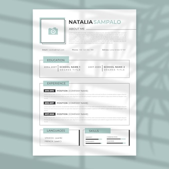 Curriculum vitae with frames template