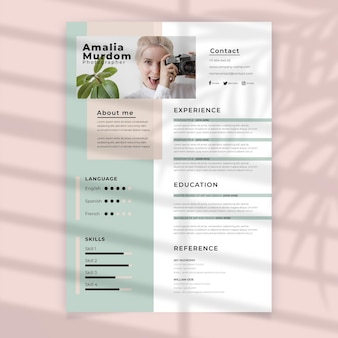 Curriculum vitae with photo template