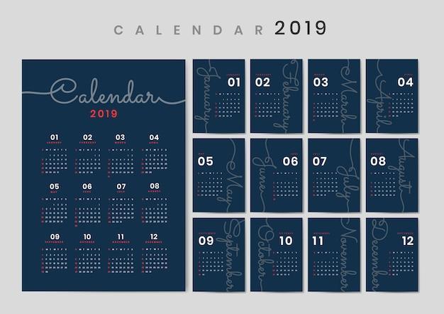 Курсивный дизайн календаря макет