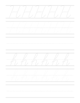 子供のための筆記体手書き練習ワークシート