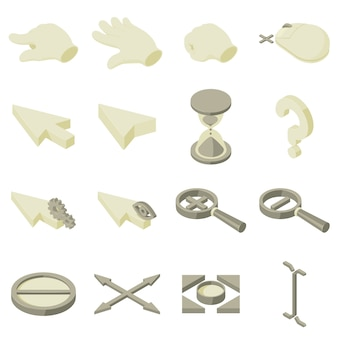 Cursor arrow hand icons set. isometric illustration of 16 cursor arrow hand vector icons for web