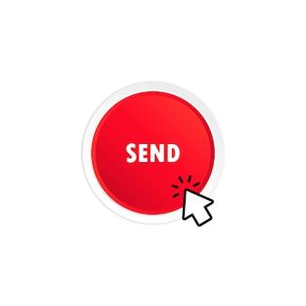 보내기 버튼 아이콘을 클릭하는 커서입니다. 격리 된 흰색 배경에 벡터입니다. eps 10.