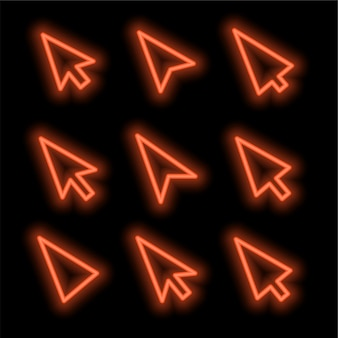 Cursors set in neon style