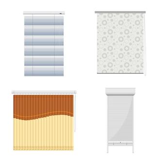 Занавес для окна мультфильм значок набор. изолированные иллюстрации жалюзи для интерьера. набор иконок для штор и жалюзи для окна.