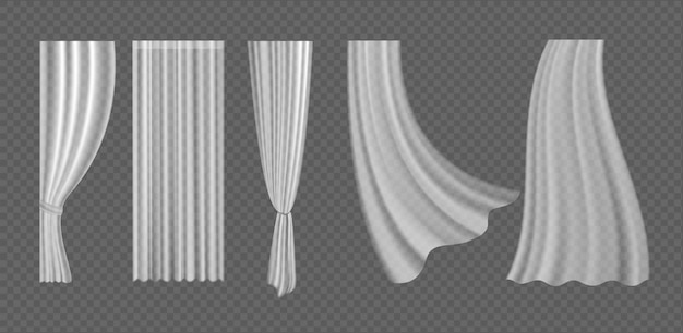 Curtains 3d realistic fluttering collection from white fabric silk cloth for window decoration