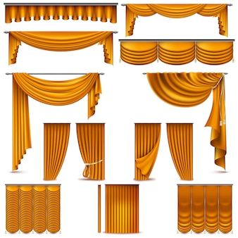 Curtains and draperies interior decoration object.