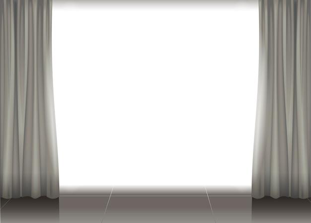 Curtains and illuminated scene