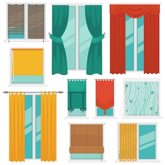 Curtains on windows colourful vector collection