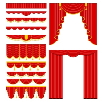 Curtains with lambrequins on the stage of the theater concert hall
