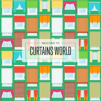 Curtains world background in flat design