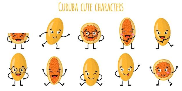 Куруба фрукты милые веселые веселые персонажи с разными позами и эмоциями. натуральный витаминный антиоксидант для детоксикации пищевых продуктов. изолированные иллюстрации шаржа.