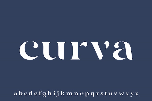 Curva, elegant luxury and glamour font beautiful alphabet vector