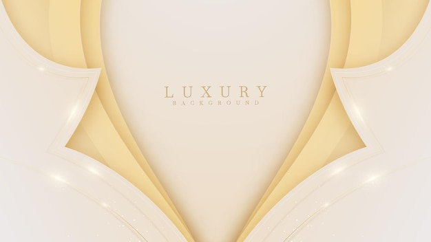 Curve golden lines luxury on cream color background. elegant realistic paper cut style 3d.