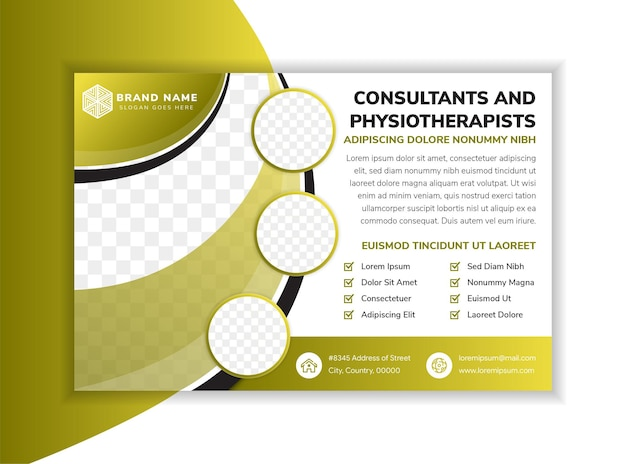 Curve horizontal flyer template design with headline consultants and physiotherapists horizontal