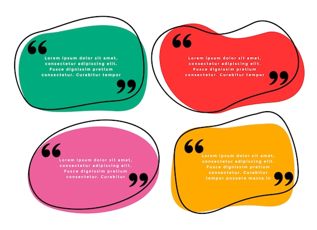 Curve shape quotes template in four colors